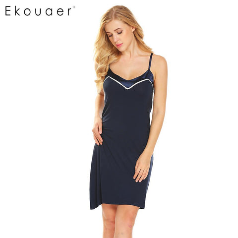 Ekouaer Patchwork Sexy Soft Sleepwear V-Neck Backless Satin Women Babydoll Chemise Slips - Jack and Rose Fabulous Finds - JARFF