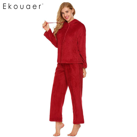 Ekouaer Pullover 2 Piece Sleepwear Long Sleeve Hooded Women Hoodie - Jack and Rose Fabulous Finds - JARFF