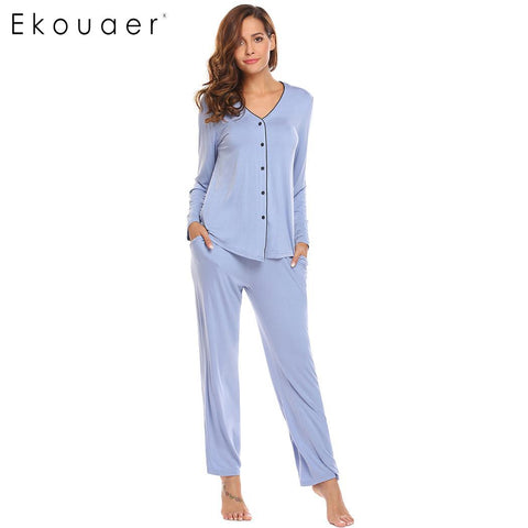 Ekouaer Sleepwear Midnight Ladies Long Sleeve Button Shirt Long Pants - Jack and Rose Fabulous Finds - JARFF