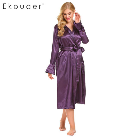Ekouaer Sleeve Long Flare Women Satin Robe Sleepwear - Jack and Rose Fabulous Finds - JARFF