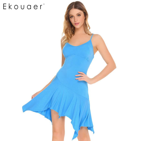 Ekouaer Soft Sexy Women Sleepwear V-Neck Asymmetrical Ruffles Hem - Jack and Rose Fabulous Finds - JARFF