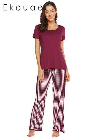 Ekouaer Top Casual Solid Short Sleeve Women Striped Pants Pajama Set - Jack and Rose Fabulous Finds - JARFF