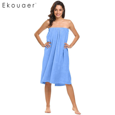 Ekouaer Towel Body Bath Solid Spa Wrap Women Robe - Jack and Rose Fabulous Finds - JARFF