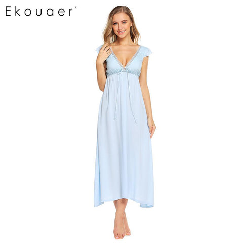 Ekouaer Women Elegant Nightgown Deep V Neck Long Nightdress Backless - Jack and Rose Fabulous Finds - JARFF