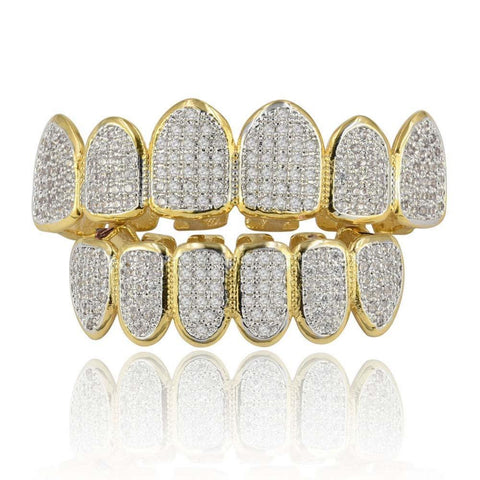 Gold Silver Plated Hip Hop Teeth Grill All Iced Out CZ Stone Micro Paved Men Women's Top & Bottom Grills Set - Jack and Rose Fabulous Finds - JARFF