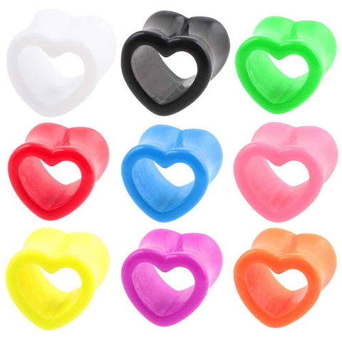 Pair Acrylic Heart Hollow Ear Tunnels Flesh Expander Gauges Plugs - Jack and Rose Fabulous Finds - JARFF
