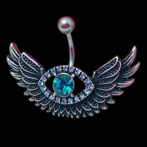 Women's Angel Wing Navel Piercing Nombril Blue Crystal Belly Button - Jack and Rose Fabulous Finds - JARFF