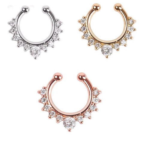 Alloy Hoop Nose Ring Piercing Fake Septum Clicker Hanger for Jewelry - Jack and Rose Fabulous Finds - JARFF