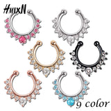 Crystal Gold Clicker Silver Nose Rose Ring Black Piercing Stud Body - Jack and Rose Fabulous Finds - JARFF