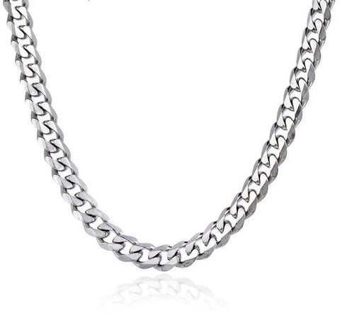 Mens Chain Stainless Steel Necklace Curb Cuban Link Silver - Jack and Rose Fabulous Finds - JARFF