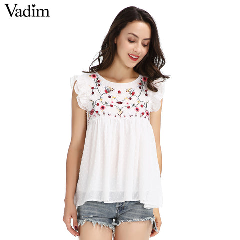 Vadim Sweet Floral Embroidery Pleated Ruffled Shirt Cute Sleeveless - Jack and Rose Fabulous Finds - JARFF