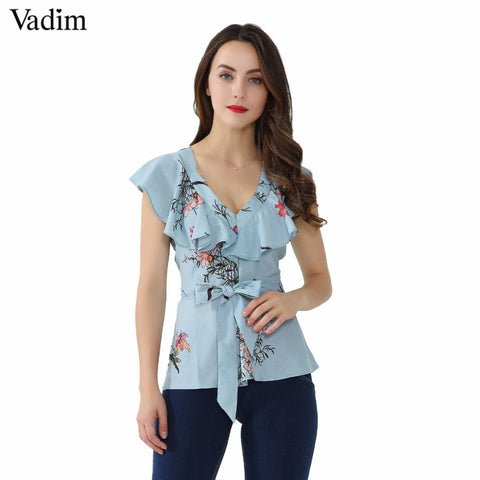 Vadim women V-neck ruffles sweet floral shirt sleeveless sashes design - Jack and Rose Fabulous Finds - JARFF