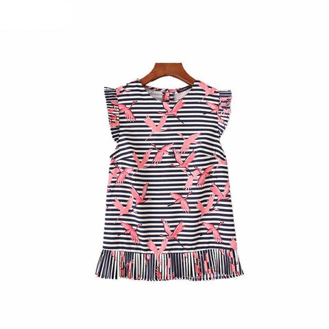 Vadim Women's Sweet Ruffles Crane Print Striped Shirt Sleeveless - Jack and Rose Fabulous Finds - JARFF