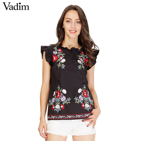 Vadim Women's Sweet Ruffles Floral Embroidery Shirt Sleeveless Black - Jack and Rose Fabulous Finds - JARFF