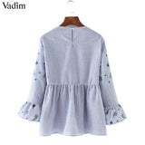 Vadim women sweet ruffles floral embroidery striped shirts long sleeve - Jack and Rose Fabulous Finds - JARFF