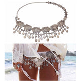Women's Vintage Silver Plated Coin Tassels Belly Body Chain - Jack and Rose Fabulous Finds - JARFF