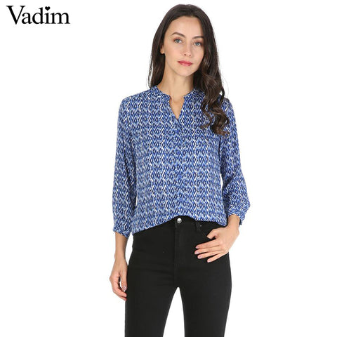 Geometric chiffon vintage shirt Stand collar Three Quarter sleeve Blue - Jack and Rose Fabulous Finds - JARFF