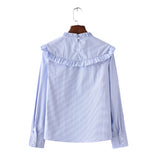 Women full cotton sweet striped ruffles blouses long sleeve stand - Jack and Rose Fabulous Finds - JARFF