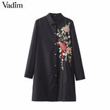 Women sweet floral embroidery long shirts long sleeve turn down collar - Jack and Rose Fabulous Finds - JARFF