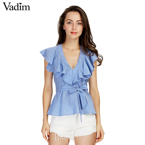 Women sweet ruffle striped blue shirts sexy v-neck sashes short sleeve - Jack and Rose Fabulous Finds - JARFF