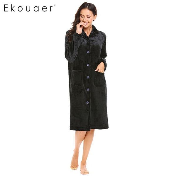 Ekouaer Soft Women's Warm Robe Lapel Long Sleeve Plush Button Down - Jack and Rose Fabulous Finds - JARFF
