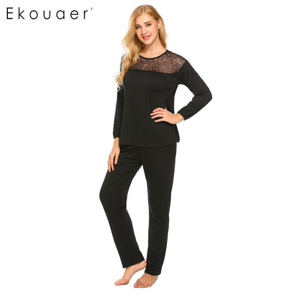 Ekouaer Long Casual O Neck Women Sleeve Lace Patchwork Solid Loose - Jack and Rose Fabulous Finds - JARFF