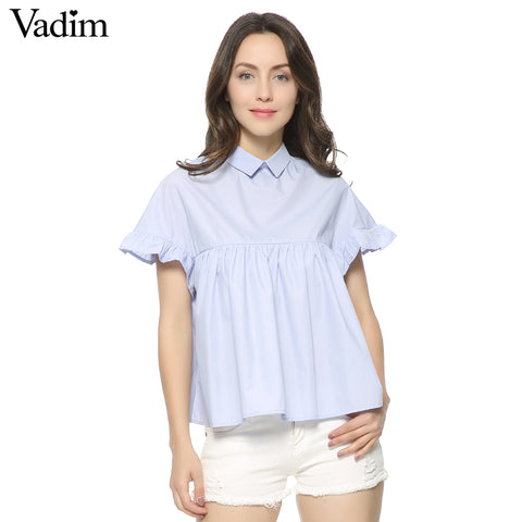 Women Elegant Butterfly Sleeve Loose Pleated Cute Shirts Pleated - Jack and Rose Fabulous Finds - JARFF