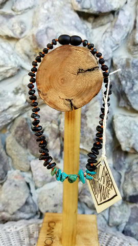 CanyonLeaf Child Amber Necklace: Black w/Turquoise Howlite