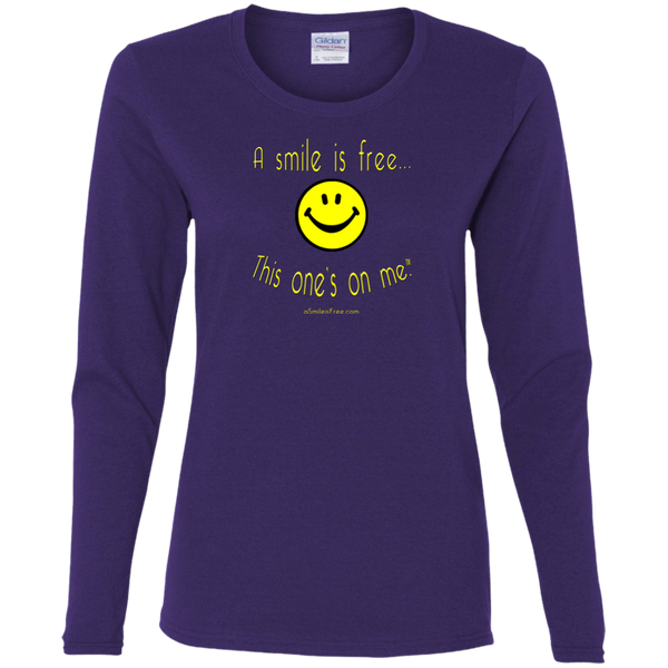 G540L Ladies' Cotton LS T-Yellow Smile
