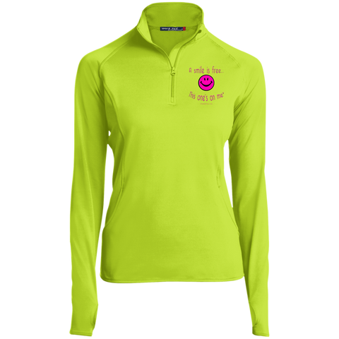 LST850 Women's 1/2 Zip Performance Pullover Neon Pink Smile