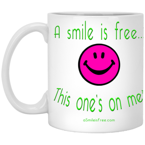 XP8434 11 oz. White Mug Neon Pink Smile/NG