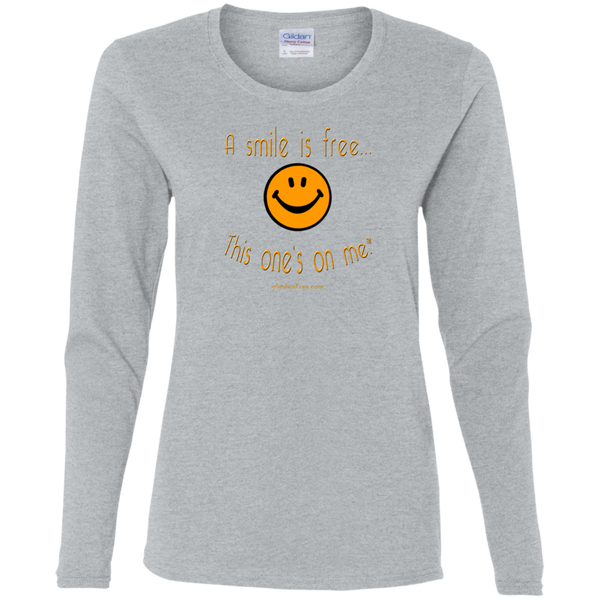 G540L Ladies' Cotton LS T-Pumpkin Smile