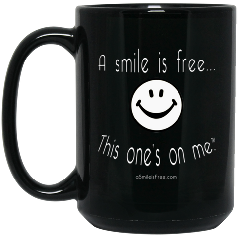 BM15OZ 15 oz. Black Mug White Smile