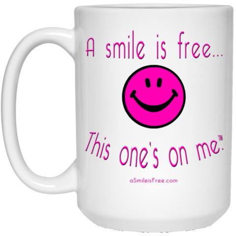21504 15 oz. White Mug Neon Pink Smile