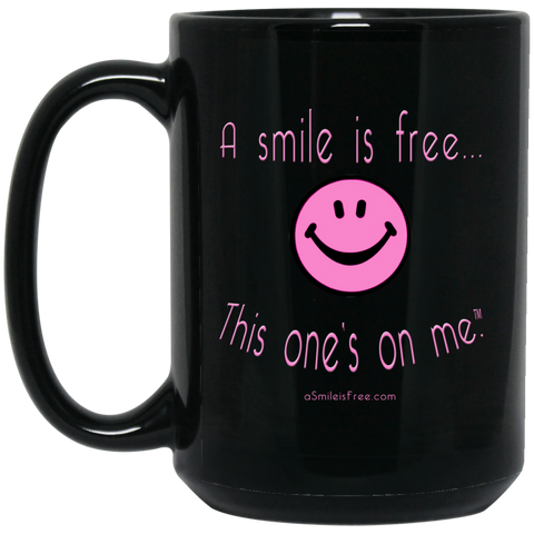 BM15OZ 15 oz. Black Mug Pink Smile