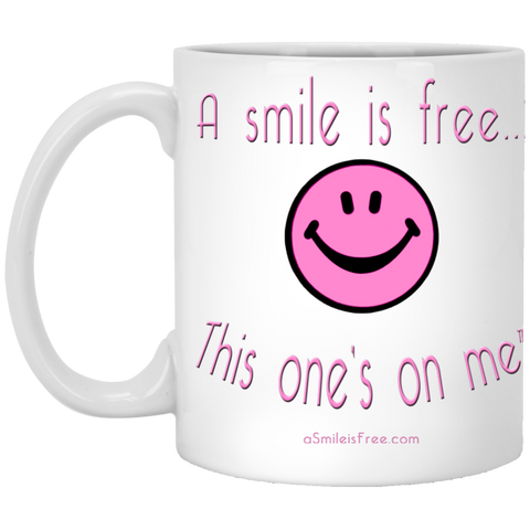 XP8434 11 oz. White Mug Pink Smile