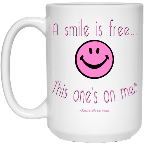 21504 15 oz. White Mug Pink Smile