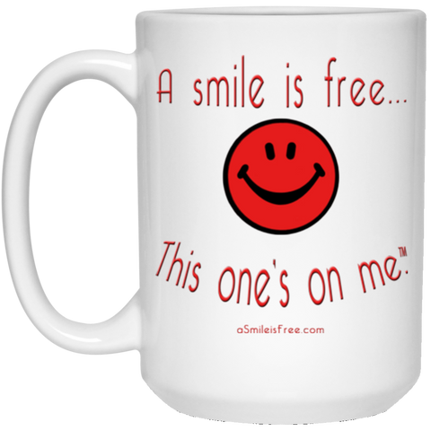 21504 15 oz. White Mug Red Smile