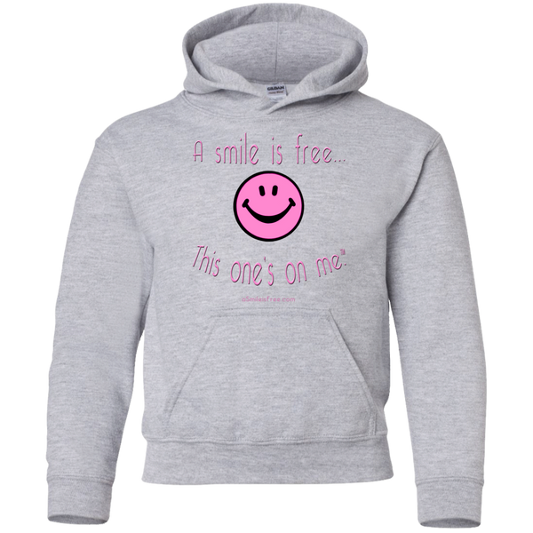 G185B Youth Pullover Hoodie Pink Smile
