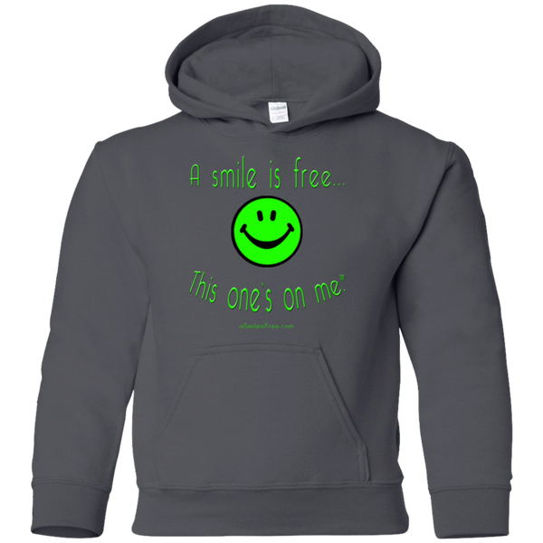 G185B Youth Pullover Hoodie Neon Green Smile