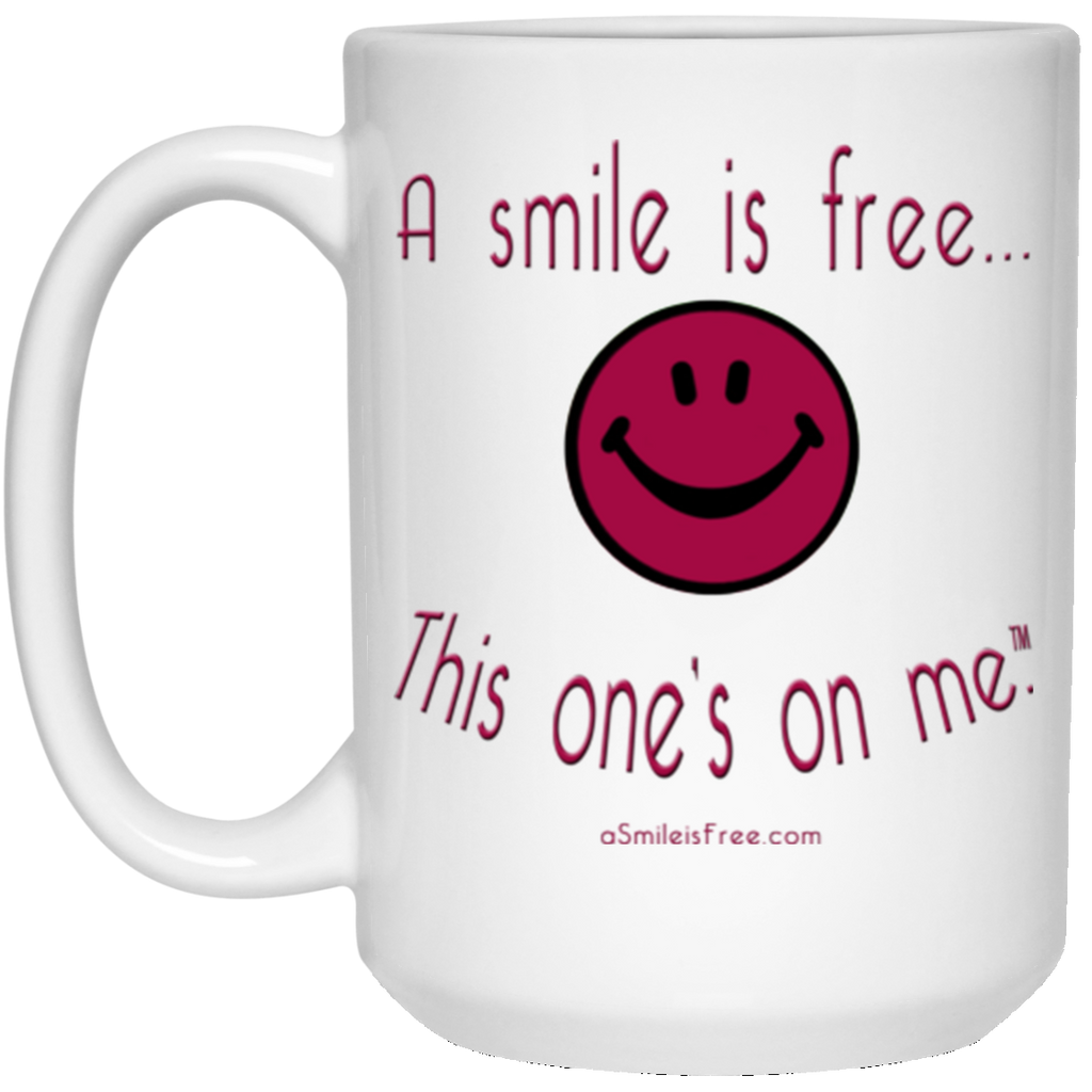 21504 15 oz. White Mug Maroon Smile