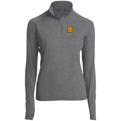 LST850 Women's 1/2 Zip Performance Pullover Pumpkin Smile