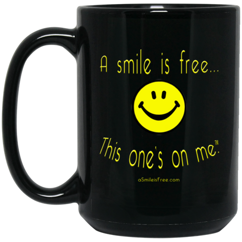 BM15OZ 15 oz. Black Mug Yellow Smile