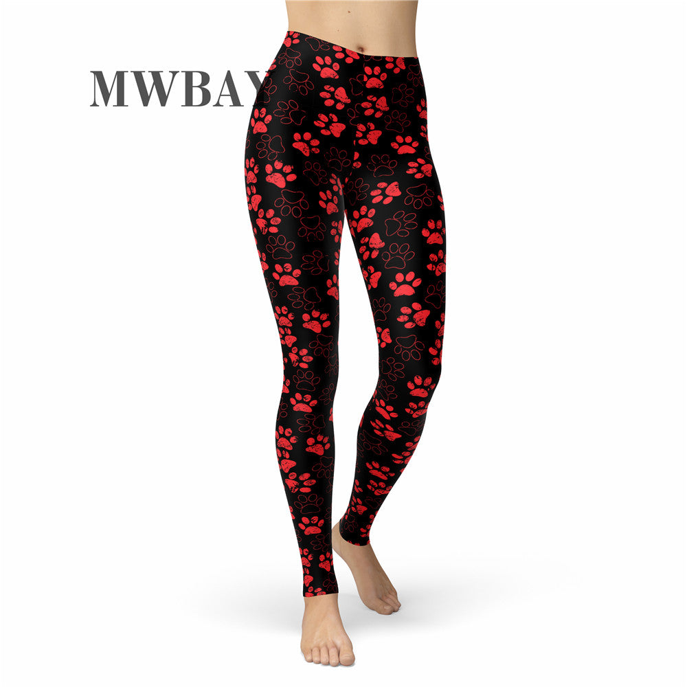 2f5d008d5be24a RED pet PAW print leggings BSL063 – MWBAY-CLOTHING