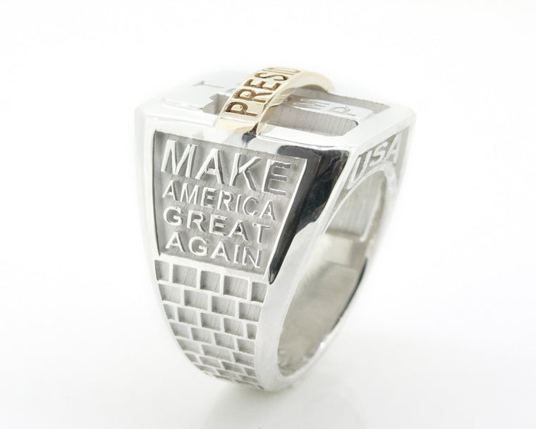 Trump MagaRing Mens/Womens Silver & 14KT Gold