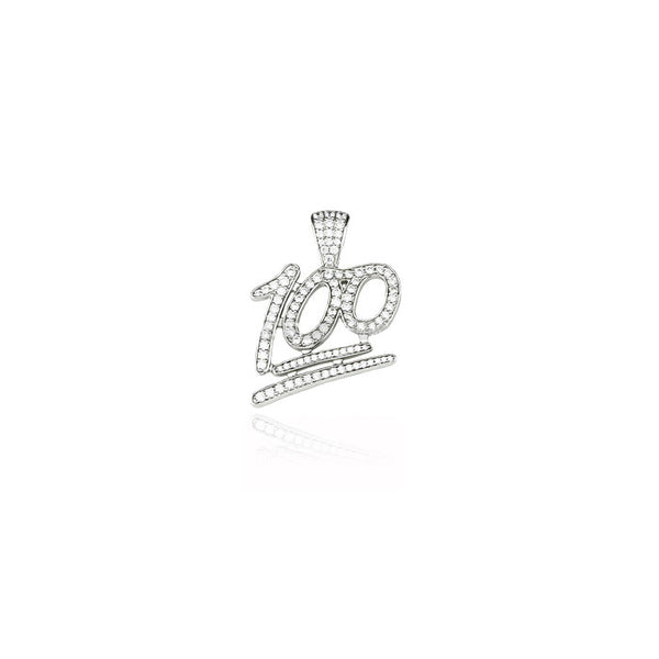 emoji 100 pendant silver white diamonds