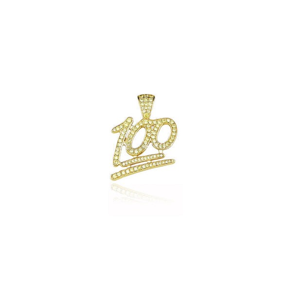 emoji 100 pendant gold white diamonds