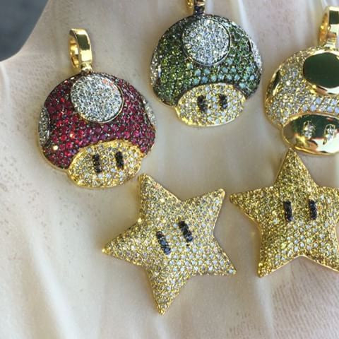 Mario mushroom star pendant with chain necklace micro size