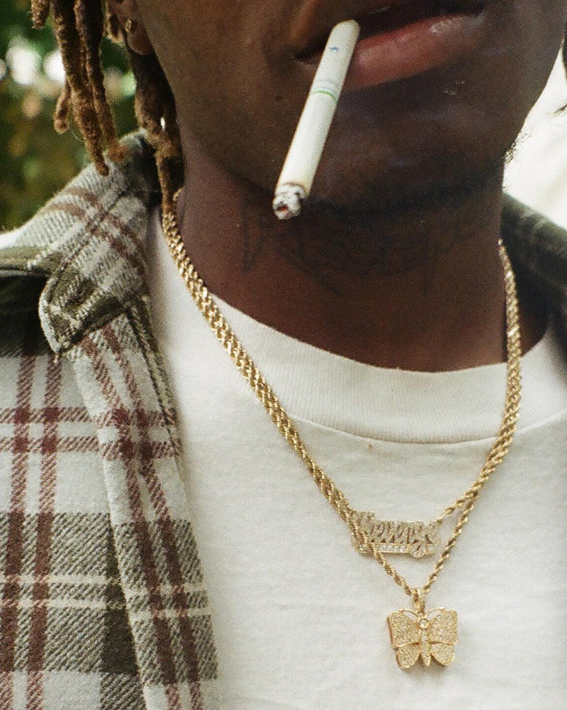 playboi carti butterfly pendant necklace chain vvs diamond ifandco uzi