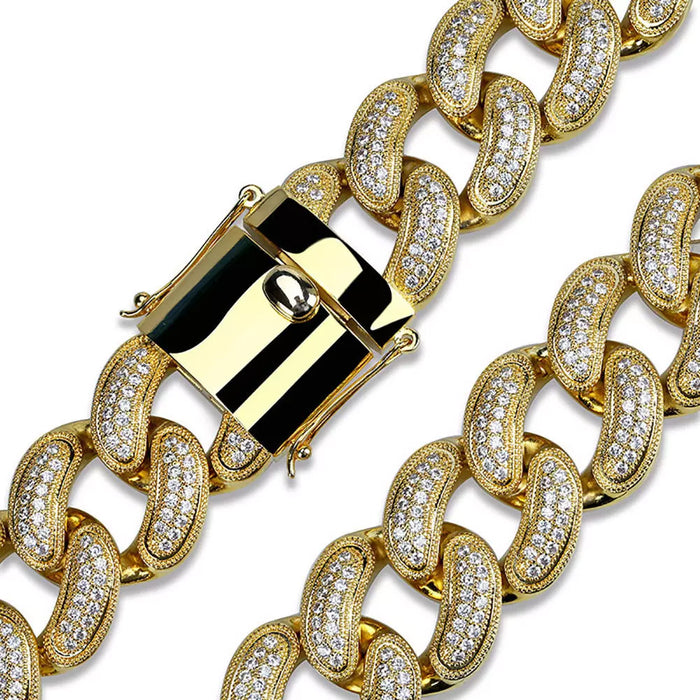 Hip Hop Jewelry 28mm 14K Gold Plated Full Iced Out CZ Big Dog Miami Cuban Chain Link Necklace for Men